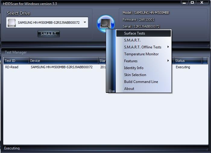 Выбор метода тестирования в HDDScan