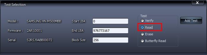 Задание параметров теста HDDScan