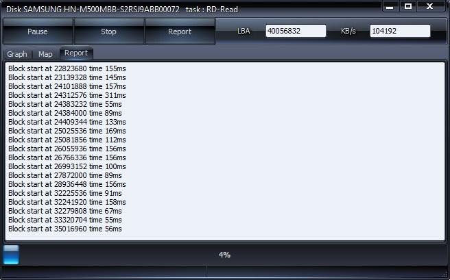 Проверка жесткого диска в HDDScan вкладка Report