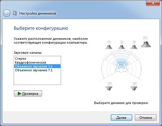 Выбор и проверка конфигурации акустики 5.1