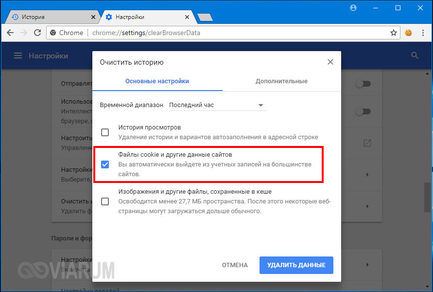 Удаление файлов cookie в Coogle Chrome