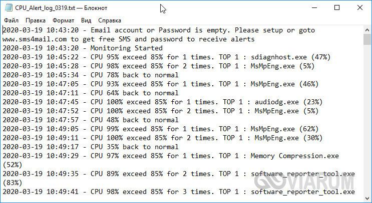 Лог-файл с записями о превышении загрузки