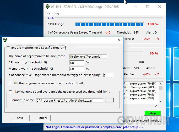 Настройки мониторинга отдельных приложений