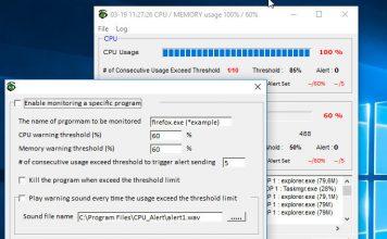 CPU Monitor and Alert – программа для оповещения о высокой загрузке ЦП и ОЗУ в Windows 10