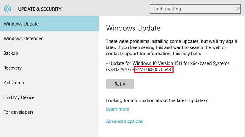 Ошибка 0x80070643 в Windows 10