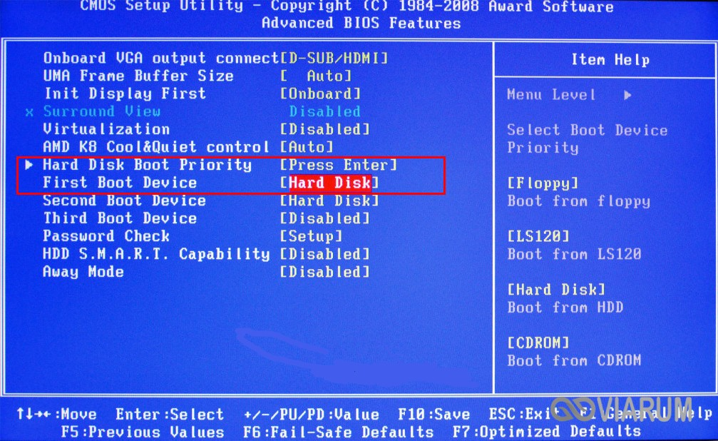 Проверка приоритета загрузки в BIOS
