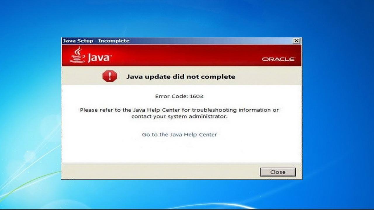 1603 error code java