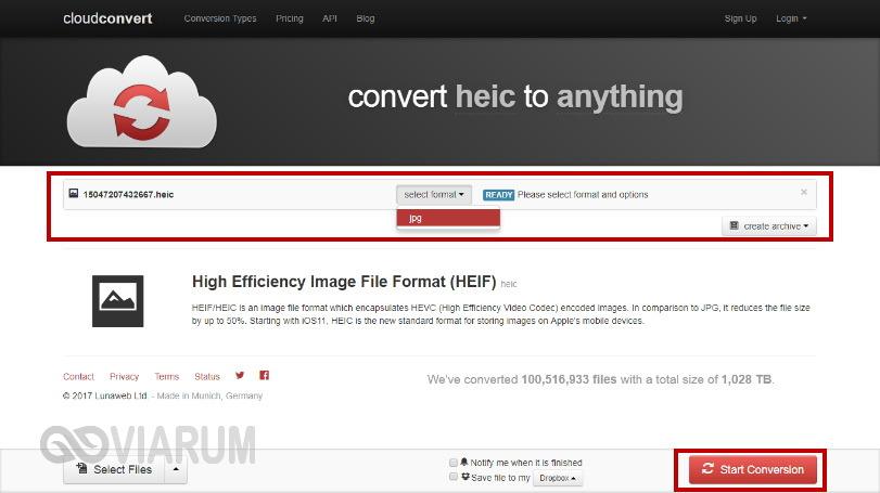 Преобразование HEIC в JPG с помощью сервиса CloudConvert