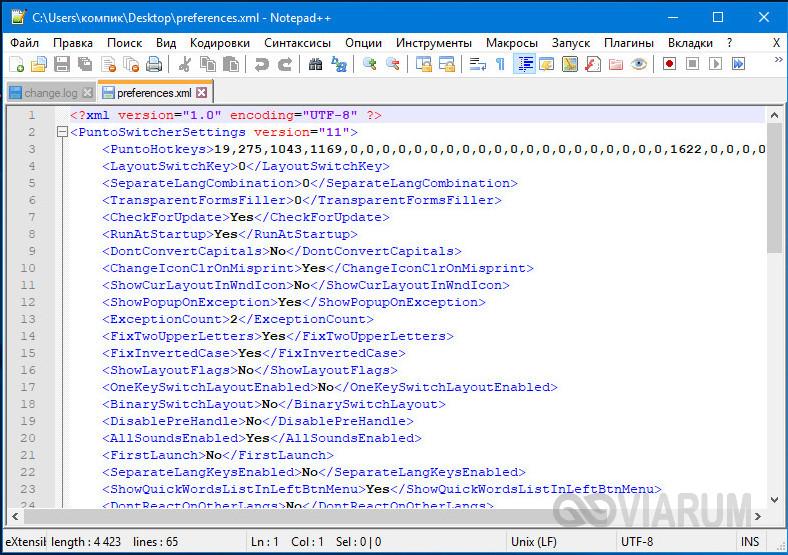 XML файл в Notepad++