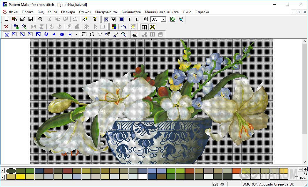 Инструмент Pattern Maker для работы со схемами вышивки