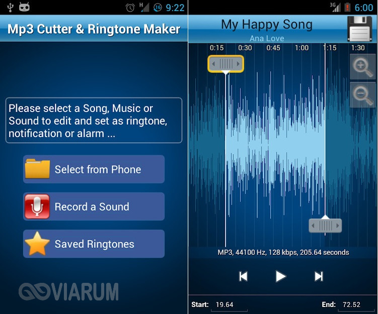 Приложение MP3 Cutter and Ringtone Maker