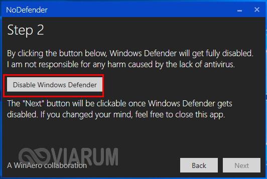 Отключение Защитника Windows 10 в программе NoDefender шаг 2