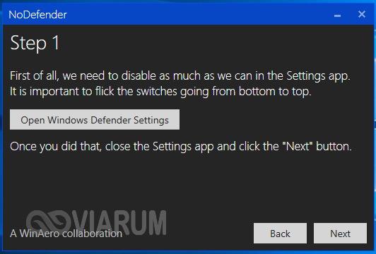 Отключение Защитника Windows 10 в программе NoDefender шаг 1