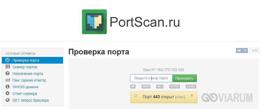 Проверка порта с помощью сервиса PortScan.ru