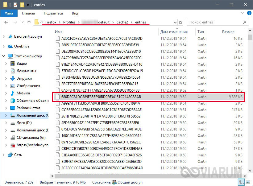 Файлы в папке кэша Mozilla Firefox
