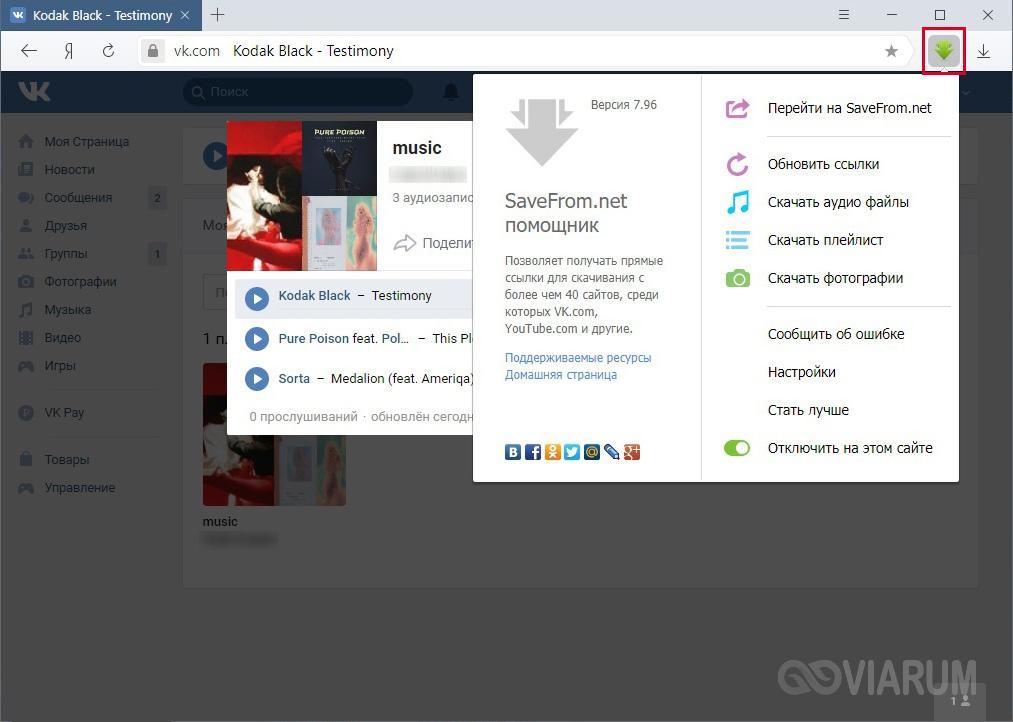 Функции помощника SaveFromNet