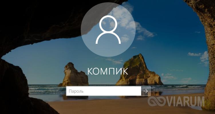 Поле ввода пароля при входе в Windows 10