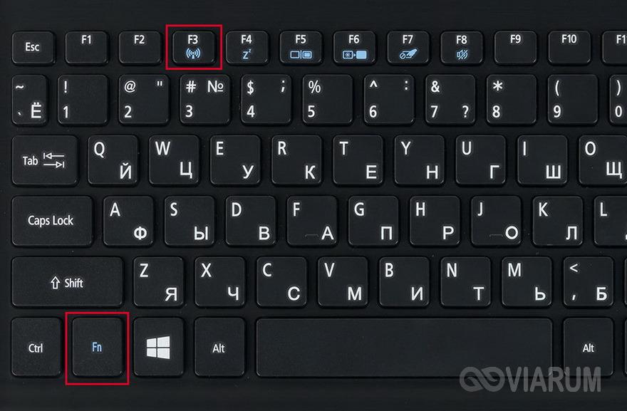 Сочетание клавиш для включения Wi-Fi и Bluetooth