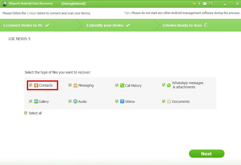 Использование утилиты iSkysoft Android Data Recovery