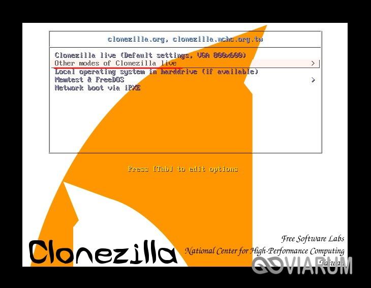 Запускаем Clonezilla шаг 1