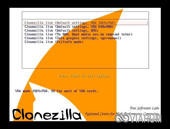 Запускаем Clonezilla шаг 2