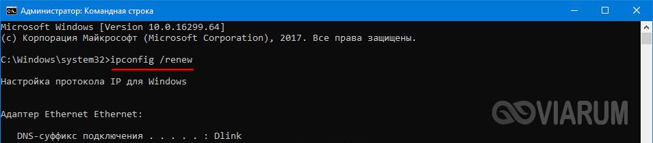 Выполнение команды ipconfig /renew