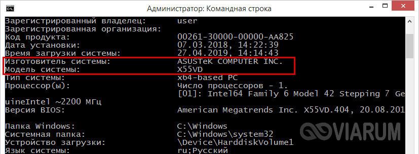 Итог выполнения команды systeminfo