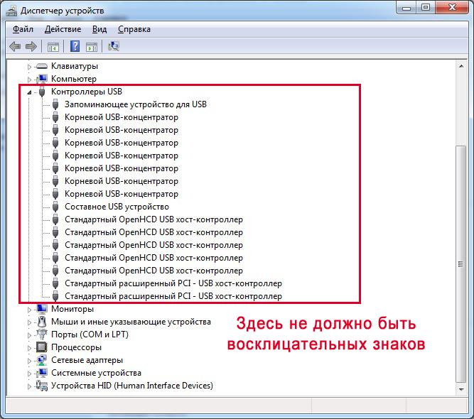 Порты USB в Диспетчере устройств