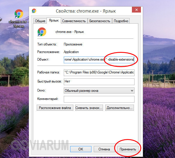 Создание ярлыка с атрибутом -disable-extensions