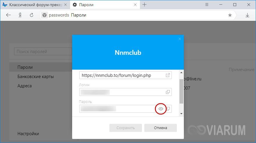 Отображение паролей в Яндекс Браузере