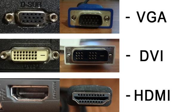 Типы разъемов для подключения монитора