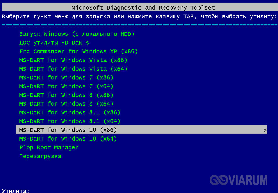 Запуск утилиты Microsoft DaRT