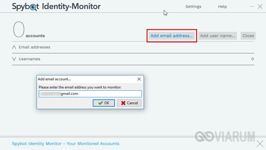 Добавление email в Spybot Identity Monitor