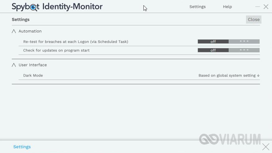 Настройки Spybot Identity Monitor