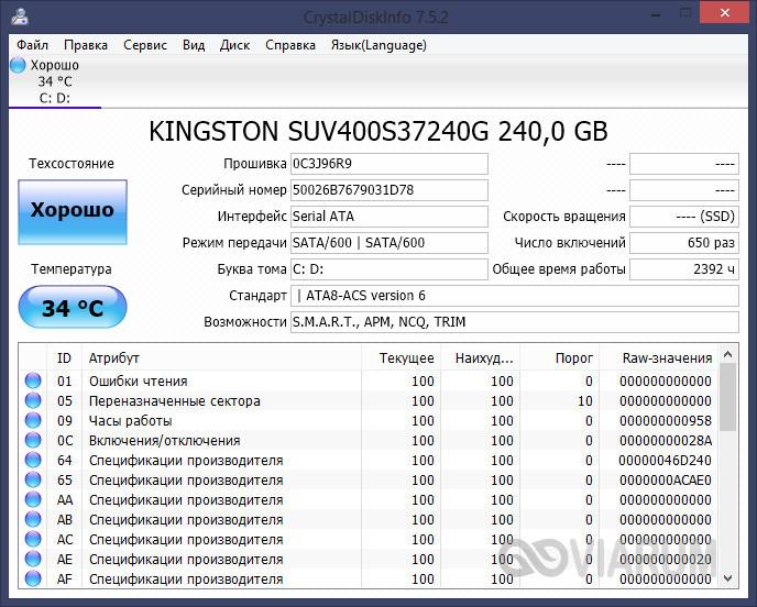Проверка диска на битые сектора программой CrystalDiskInfo