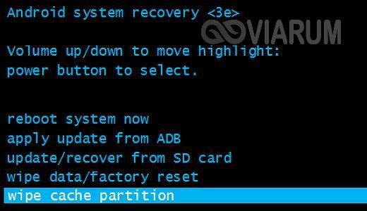 Функция «wipe cache partition» в меню Recovery
