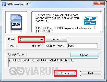Форматирование утилитой SD Formatter