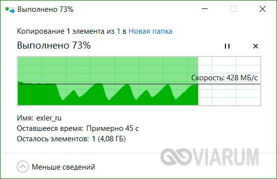 Проверка скорости жесткого диска путем копирования файлов