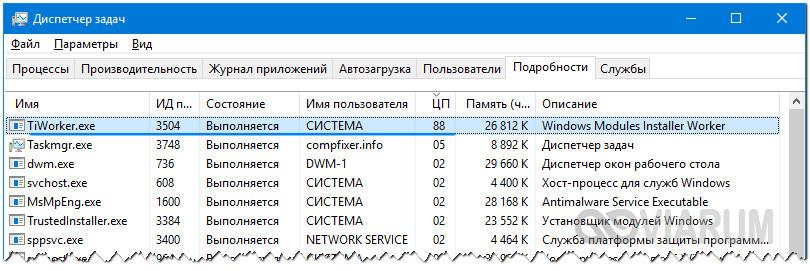 Процесс TiWorker грузит систему