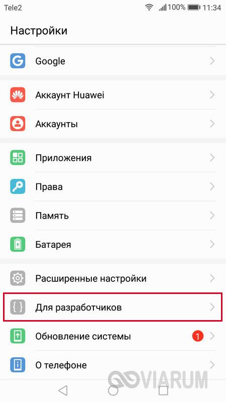 Раздел Для разработчиков в Настройках смартфона