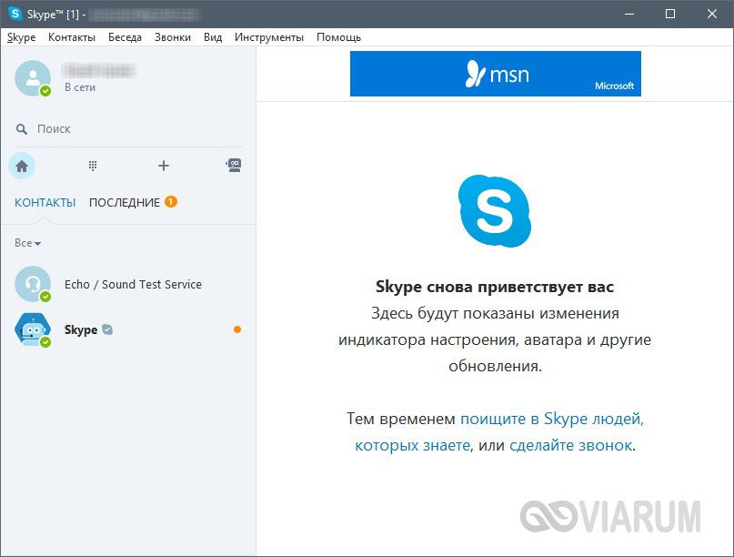 Интерфейс программы Скайп после установки