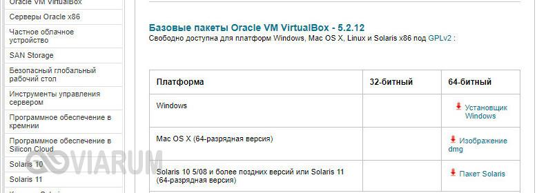 Скачивание VirtualBox