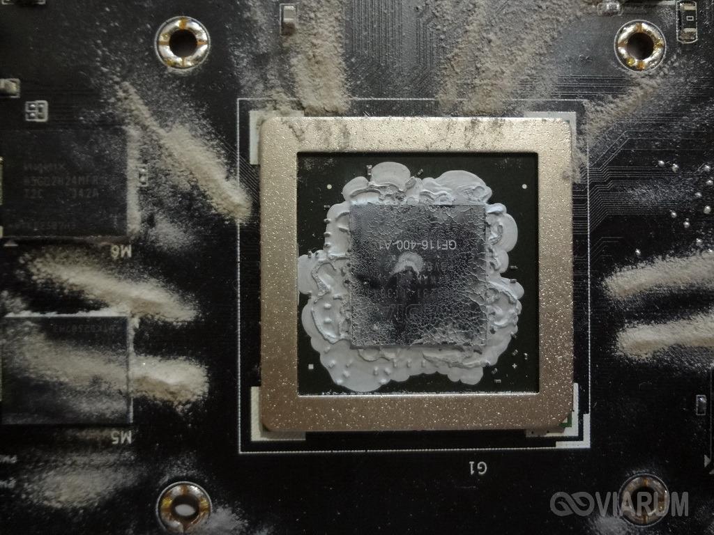 Остатки старой термопасты на чипсете