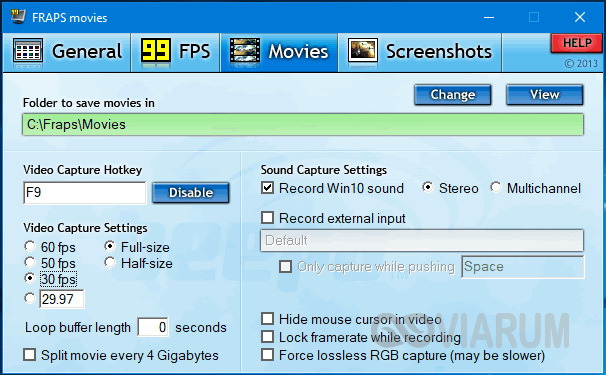 Программа Fraps - настройки записи видео